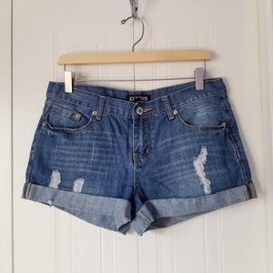 F21 Premium denim distressed shorts
